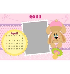 Babys monthly calendar for april 2011s vector