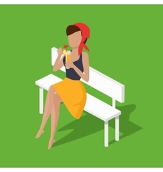 Recreation woman on bench with juice vector