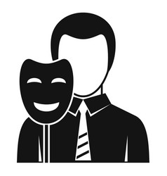 Businessman holding smile mask icon simple style vector