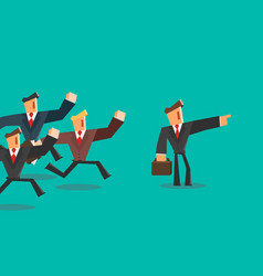 businessman indicates direction for team leader vector image vector image