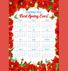 Calendar 2018 of spring poppy flowers frame vector