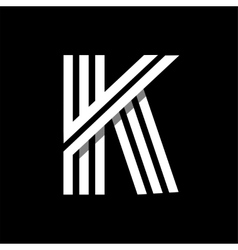Capital letter k made of three white stripes vector