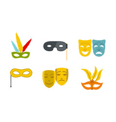 Carnaval mask icon set flat style vector