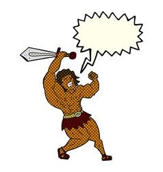Cartoon barbarian hero with speech bubble vector