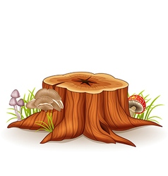 Cartoon of tree stump and mushroom vector image