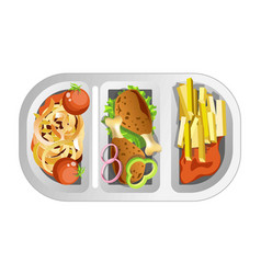 Complex lunch in plastic dish composed of fastfood vector