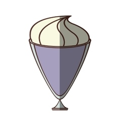 Cup glass ice cream refreshment vector