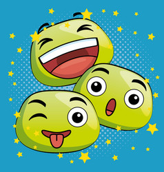 cute emoji cartoon icons vector image