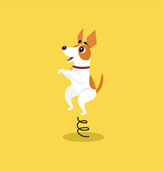 Cute jack russell terrier jumping on springboard vector