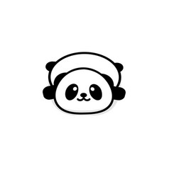 Cute stout panda rest lying down vector