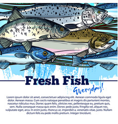 Fishing poster with fish catch vector