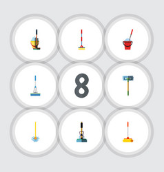 Flat icon broomstick set of sweep broomstick vector