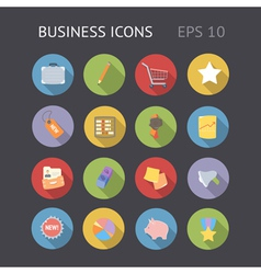 Flat icons for business vector image