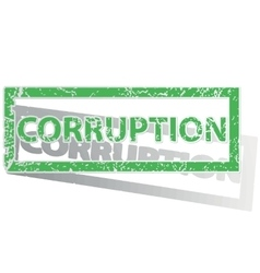 Green outlined corruption stamp vector