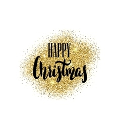 Happy christmas hand drawn lettering on light vector