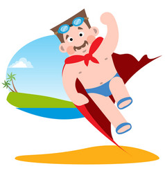 Man in the image of a superhero in a bathing suit vector