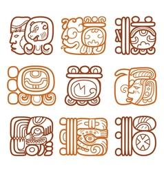 Maya glyphs writing system and languge design vector