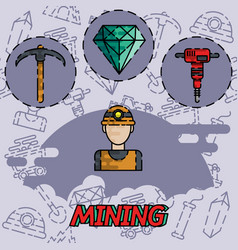 mining flat concept icon vector image vector image