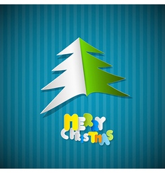 Retro paper christmas blue background with tree vector