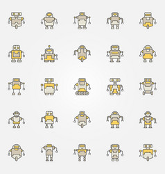 Robot colorful icons set - robots creative vector