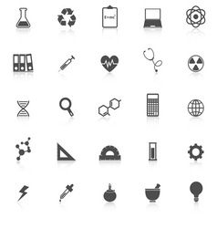 Science icons with reflect on white background vector