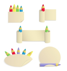 Set of 5 paper stickers with colored pencils vector image vector image