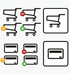 Shopping Cart Credit Card Payment app icons set vector image vector image