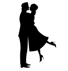 silhouette of a couple in love vector image vector image