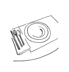sketch of plate knife fork and spoon hand drawn vector image