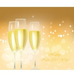 Sparkling gold champagne glasses vector