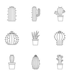 Succulent icon set outline style vector