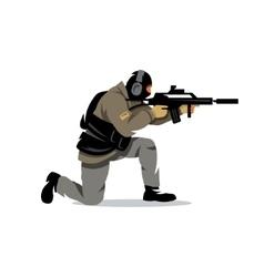 Tactical shooting cartoon vector