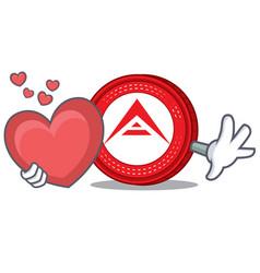 With heart ark coin character cartoon vector