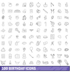 100 birthday icons set outline style vector