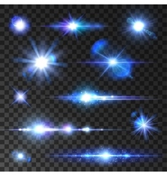 Stars set icons of twinkling star shining rays vector