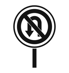No u turn road sign icon simple style vector