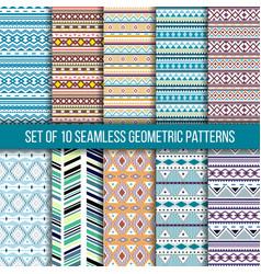 Set of 10 seamless geometric patterns vector