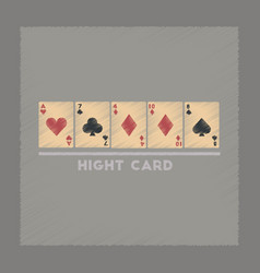 Flat shading style icon high card vector