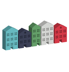 Building housing street in 3d vector