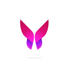 Purple abstract gradient butterfly logo template vector
