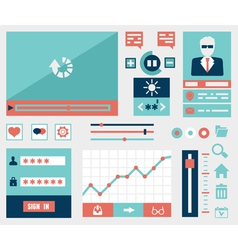 Modern flat symbols and elements of user interface vector image