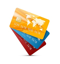 Colorful credit cards set isolated on white vector