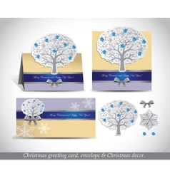 Greeting cards with silver ornate winter tree vector image