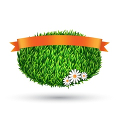 Green grass oval with chamomiles and flag isolated vector