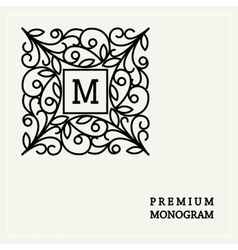 Stylish graceful monogram in art nouveau style vector