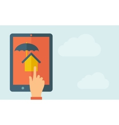 Touch screen tablet with house umbrella icon vector