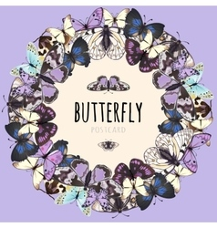 Butterflies set space for text on pink background vector