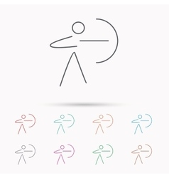 Archery sport icon archer with longbow sign vector