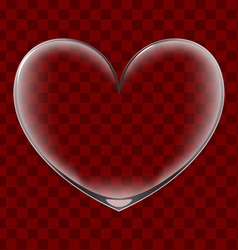 Heart shaped transparent glass vector