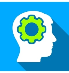 Human mind mechanism flat long shadow square icon vector